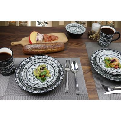 Bimini Collection 16-Piece Black and Gray Beaded Stoneware Set By Lorren Home