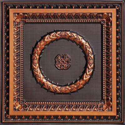 Laurel Wreath 2 ft. x 2 ft. PVC Glue-up or Lay-in Ceiling Tile in Antique Copper