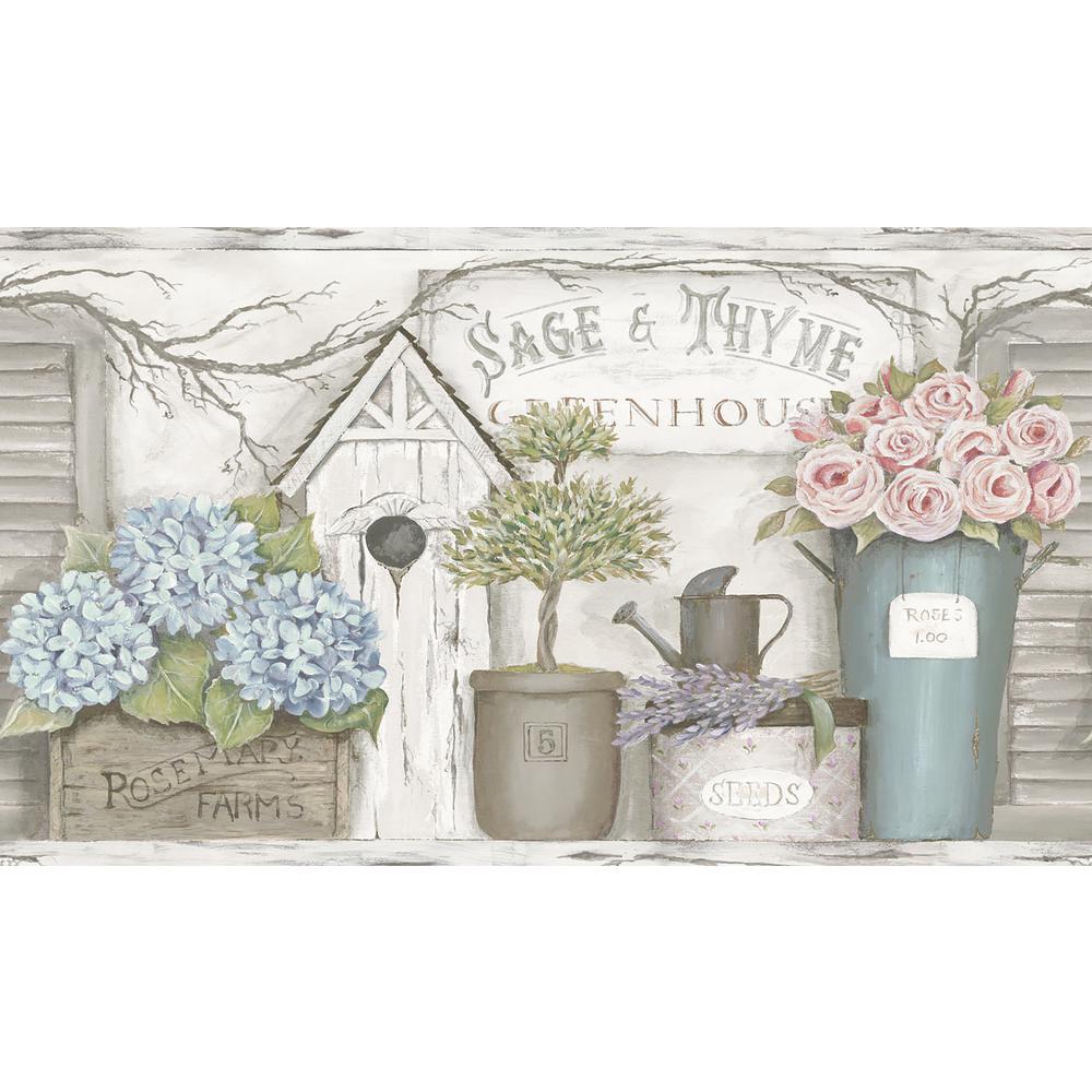 Greenhouse Light Grey Floral Trail Wallpaper Border