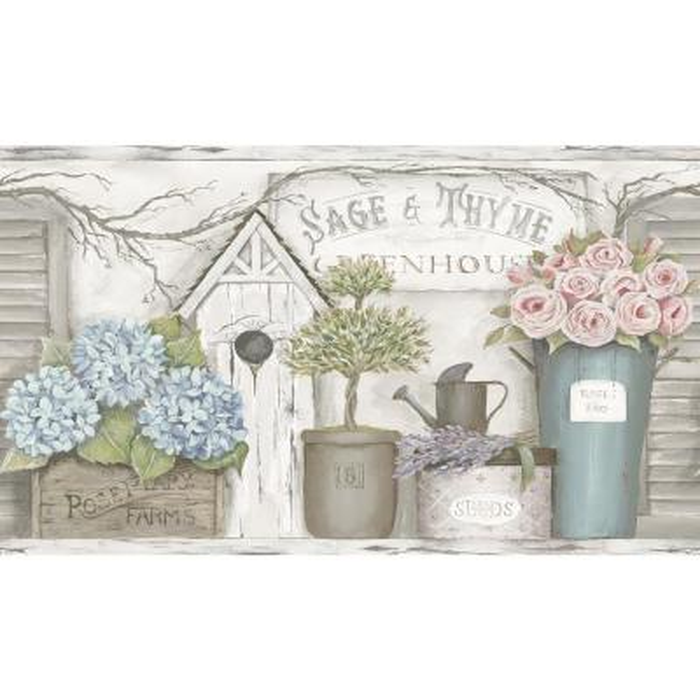 Greenhouse Light Grey Floral Trail Light Grey Wallpaper Border Sample
