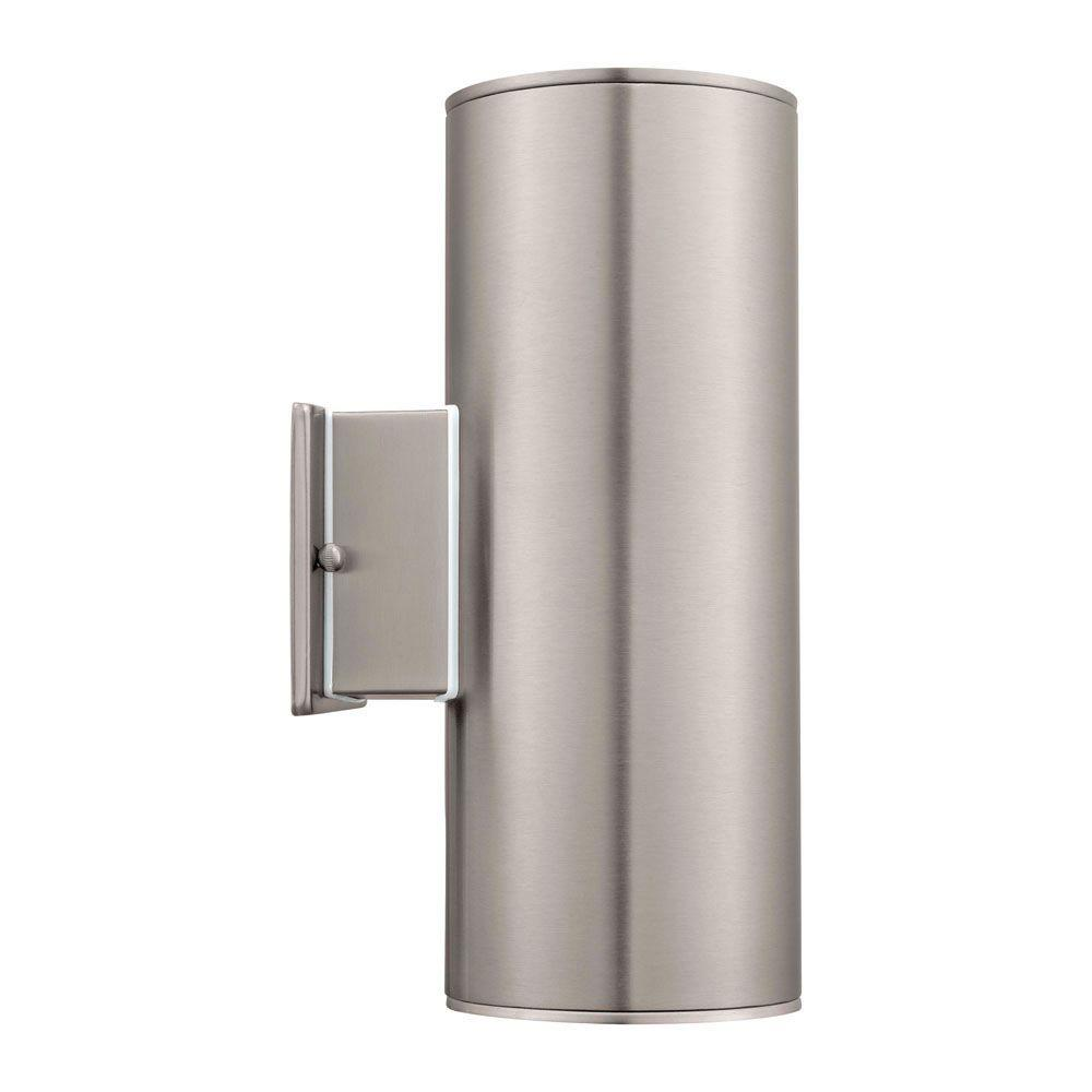 Eglo ascoli 2 light stainless steel outdoor wall mount sconce