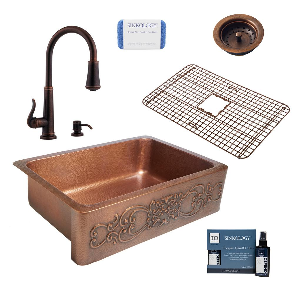 SINKOLOGY Ganku All-in-One Farmhouse Apron-Front Copper 33 in. Single Bowl Kitchen Sink with Pfister Bronze Faucet and Strainer