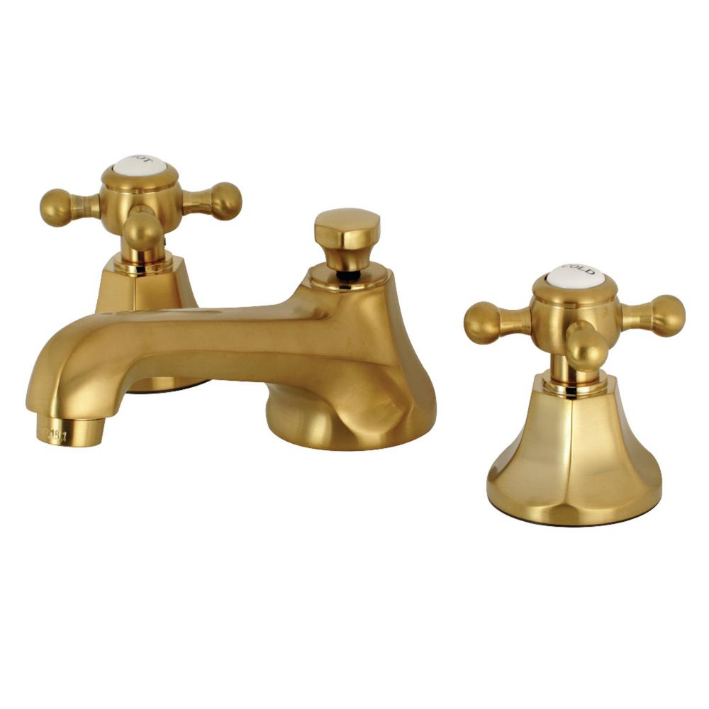 Kingston Brass Modern 8 In. Widespread 2-Handle High-Arc Bathroom Faucet In Satin Brass