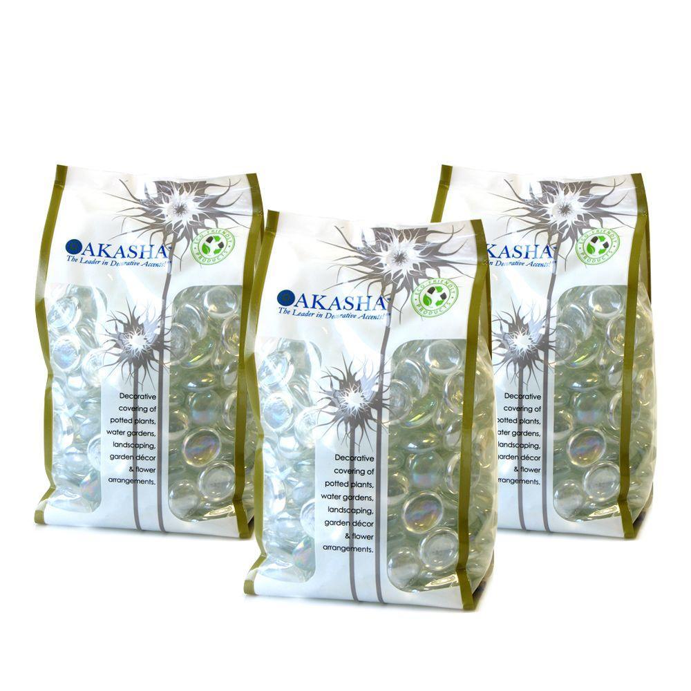9 lb. Clear Iridescent Glass Gems 3 lb. Bags