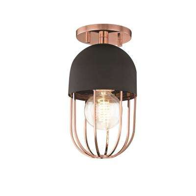 Haley 1-Light Polished Copper and Black Flush Mount with Black Accents