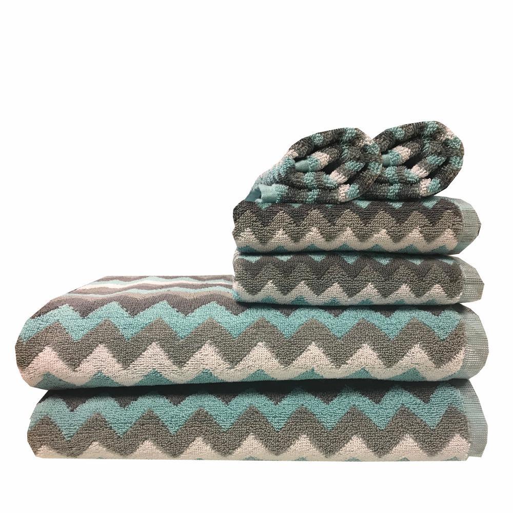 Zig Zag 6-Piece 100% Cotton Bath Towel Set in Spa Blue