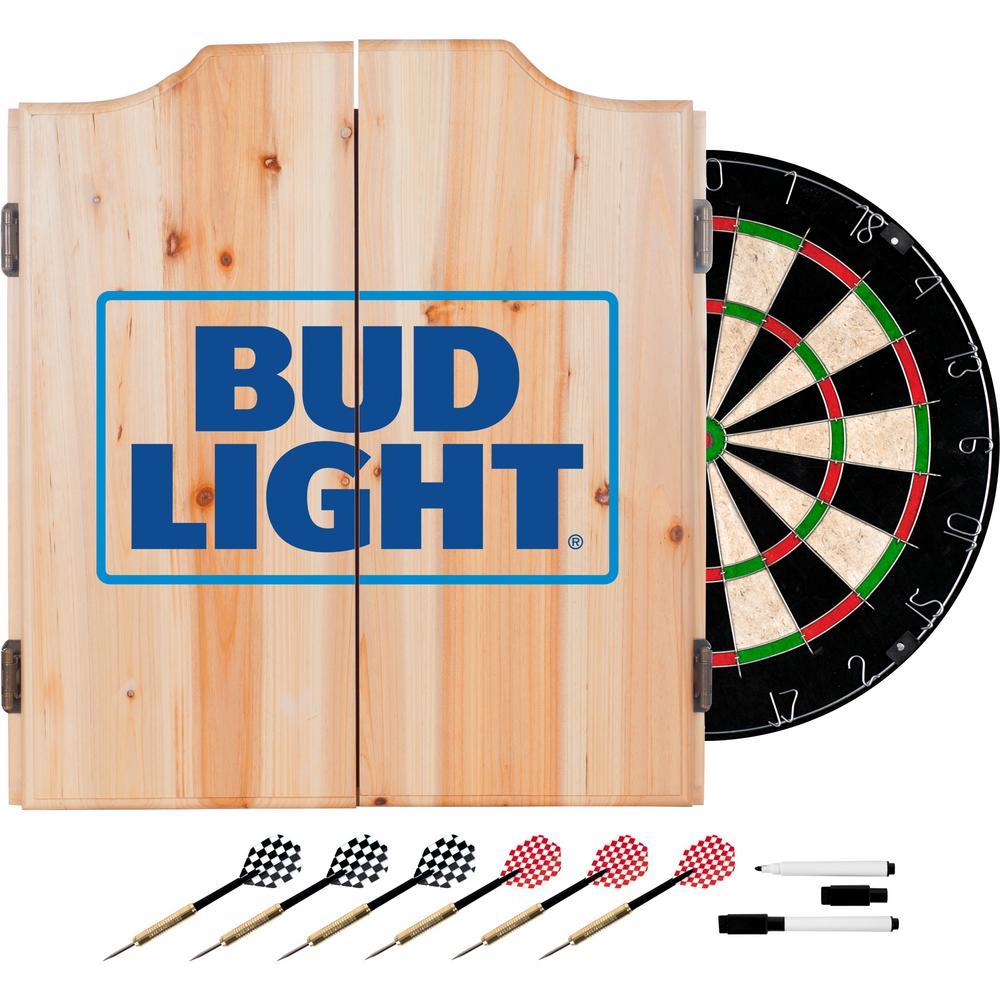 Wood Finish Dart Cabinet Set - Bud Light