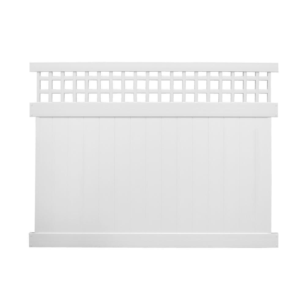 Scottsdale 5 ft. H x 8 ft. W White Vinyl Privacy Fence Panel Kit