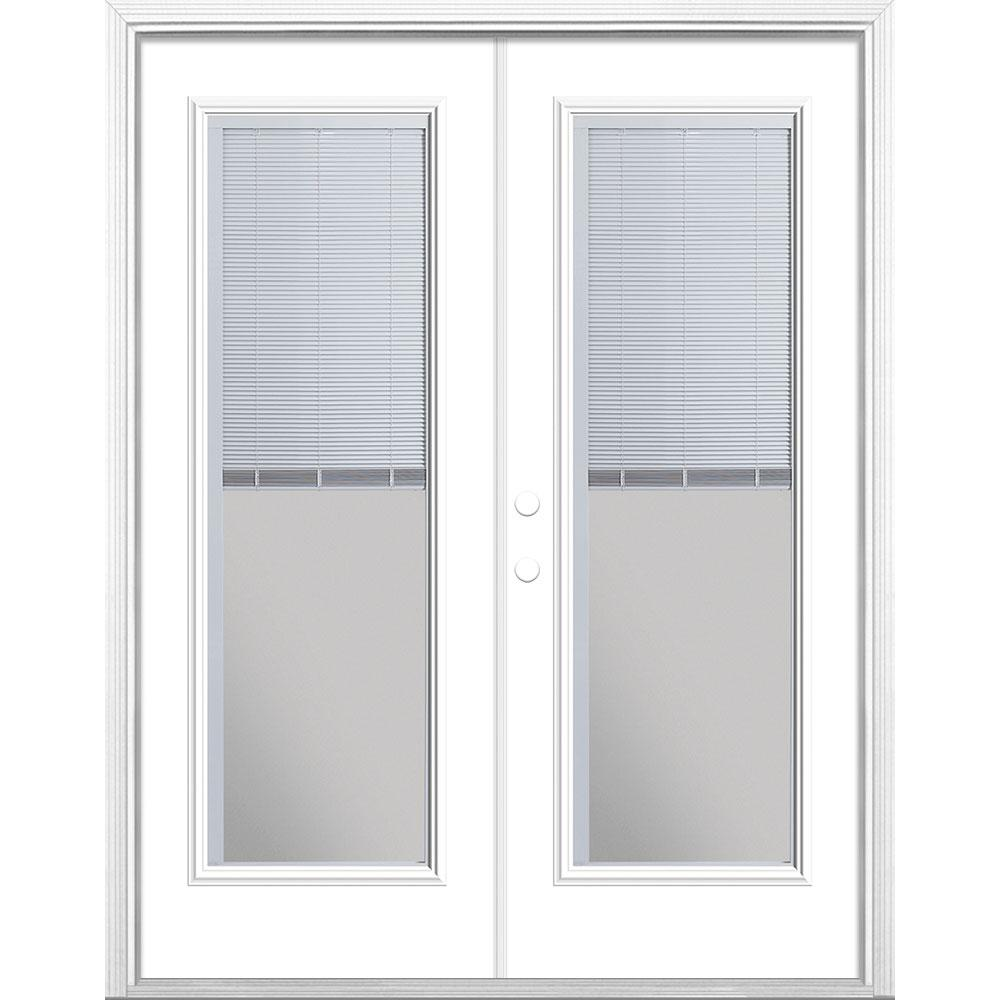 Masonite 60 in. x 80 in. Ultra White Steel Prehung Right-Hand Inswing Mini Blind Patio Door in Vinyl Frame with Brickmold