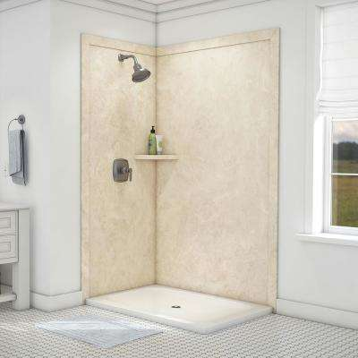 Elegance 36 in. x 48 in. x 80 in. 7-Piece Easy Up Adhesive Corner Shower Wall Surround in Cream Travertine