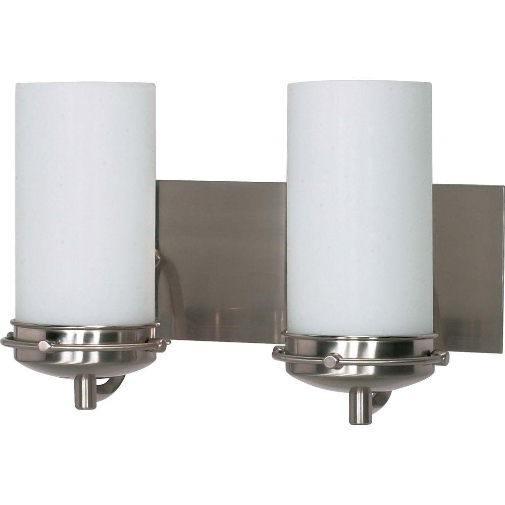 2-Light Brushed Nickel Vanity Light with Satin Frosted Glass Shade
