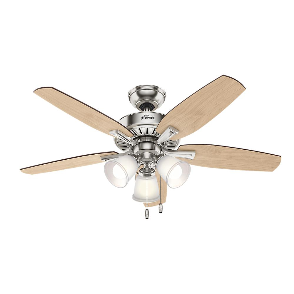 Led Indoor Brushed Nickel Ceiling Fan With Light