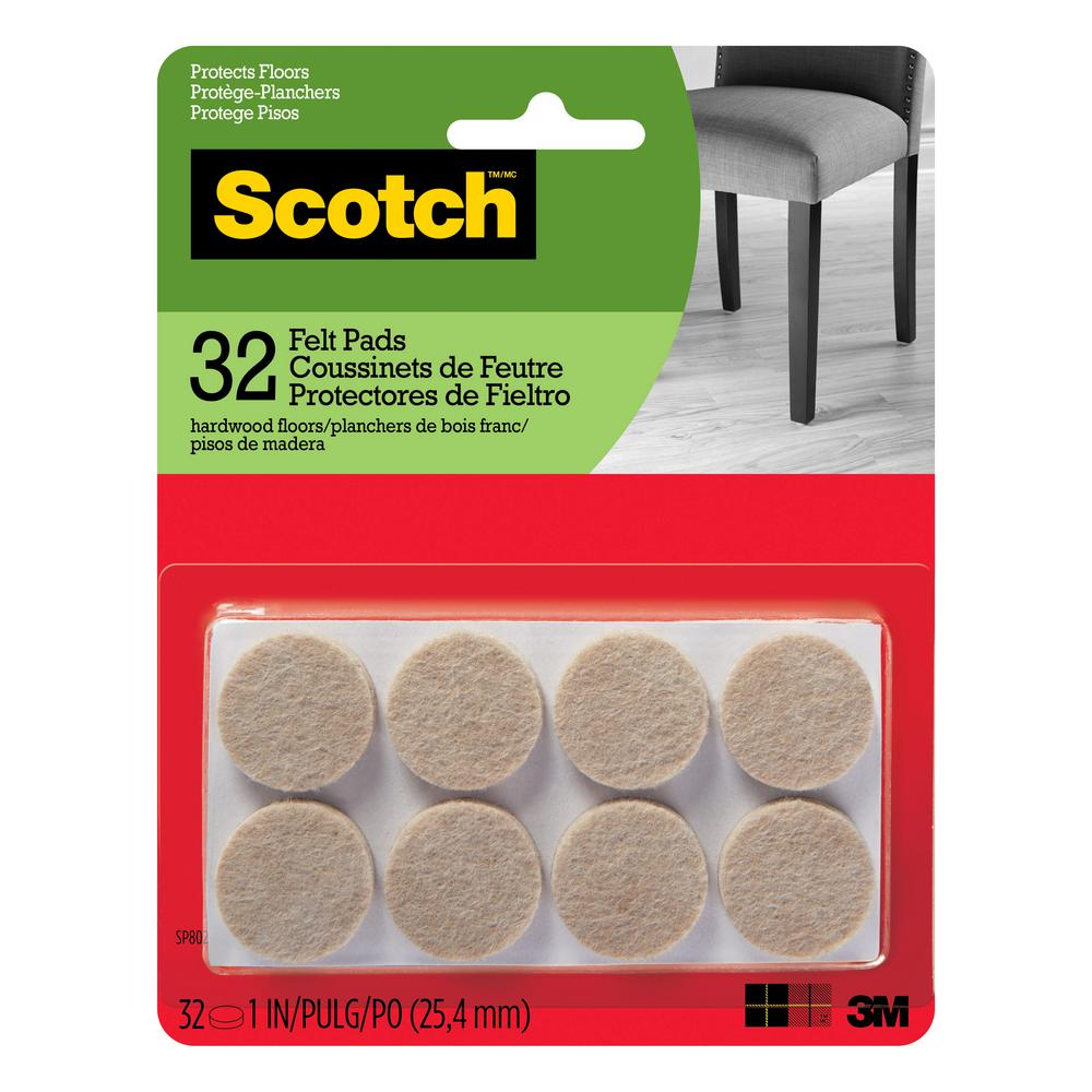 3M Scotch 1 in. Beige Round Surface Protection Felt Floor Pads (32-Pack)