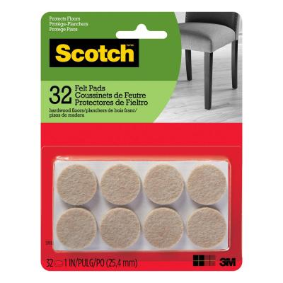 Beige Round Surface Protection Felt Floor Pads 32 Pack
