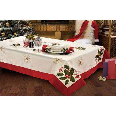 Holiday Holly Berries Embroidered Rectangular 70 in. x 104 in. Tablecloth with Red Trim Border