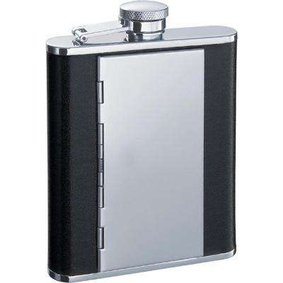 Pierre Black Flask with Built-in Cigarette Case