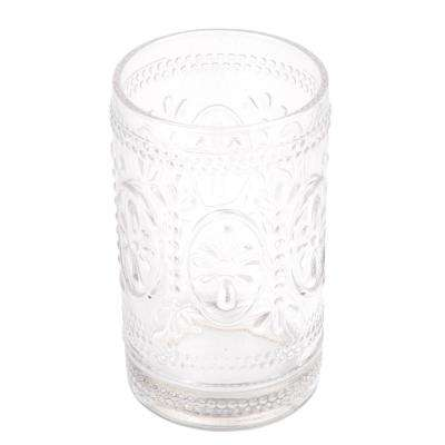 2-3/4 in. Dia x 4-5/8 in. H Floral Scroll Clear Glass Tumbler Toothbrush Holder