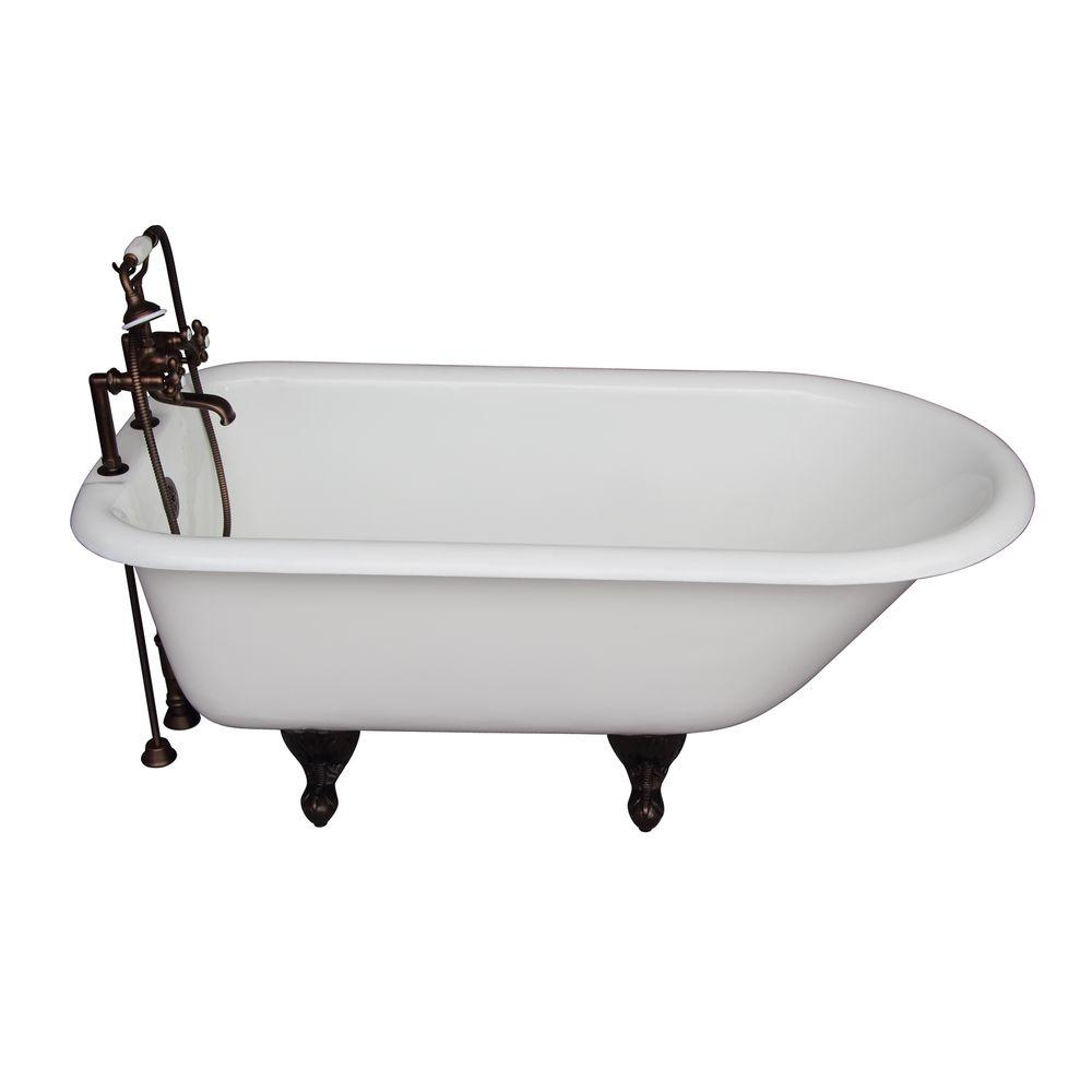 Barclay Products 5.6 ft. Cast Iron Ball and Claw Feet Roll Top Tub in White with Oil Rubbed Bronze Accessories
