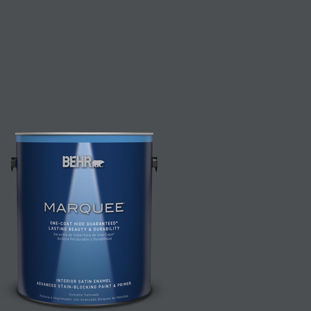1 gal. #PPU26-01 Satin Black Satin Enamel Interior Paint