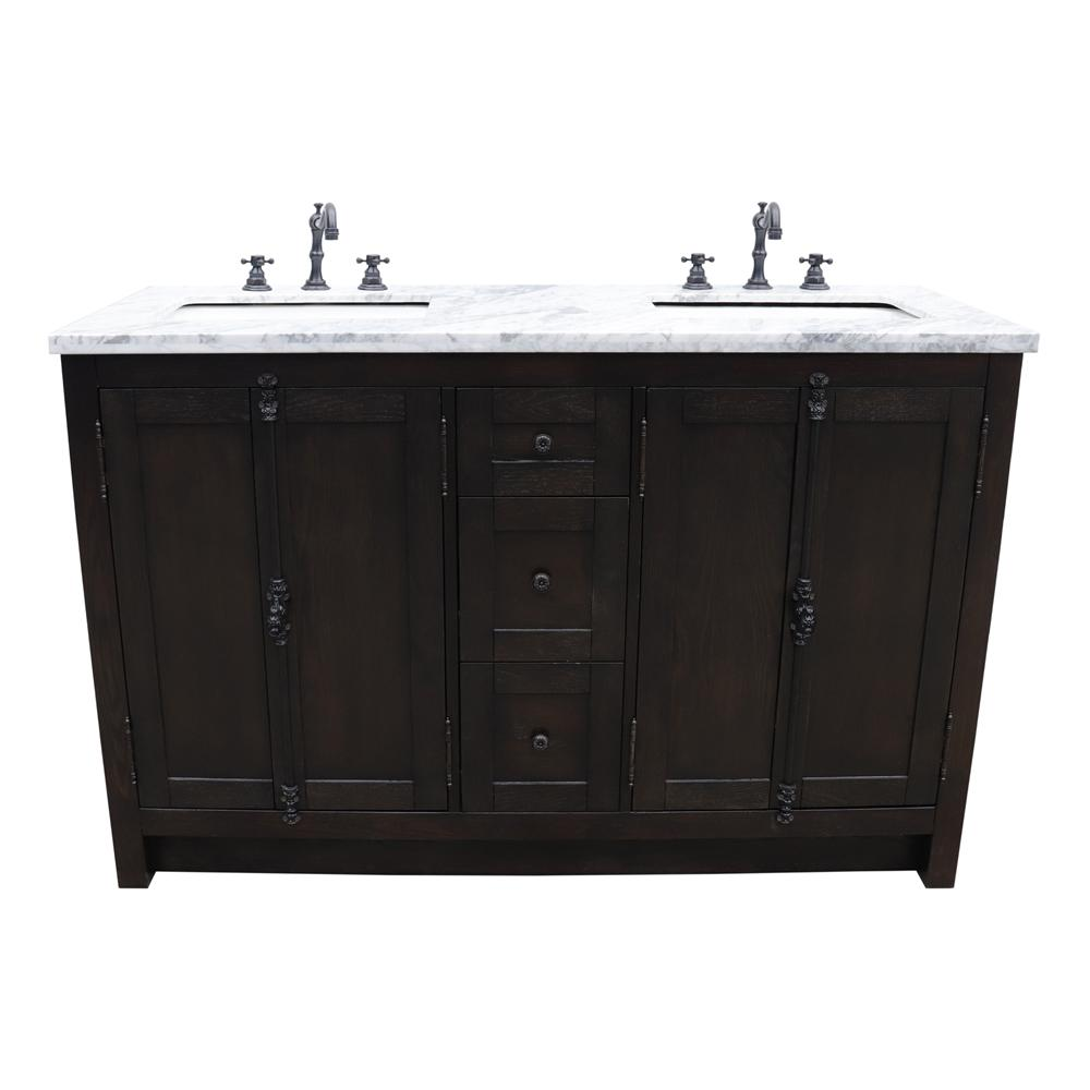 Bellaterra Home Plantation 55 in. W x 22 in. D Double Bath Vanity in Brown with Marble Vanity Top in White with White Rectangle Basins