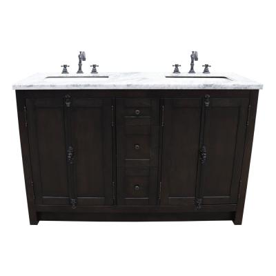 Plantation 55 in. W x 22 in. D Double Bath Vanity in Brown with Marble Vanity Top in White with White Rectangle Basins