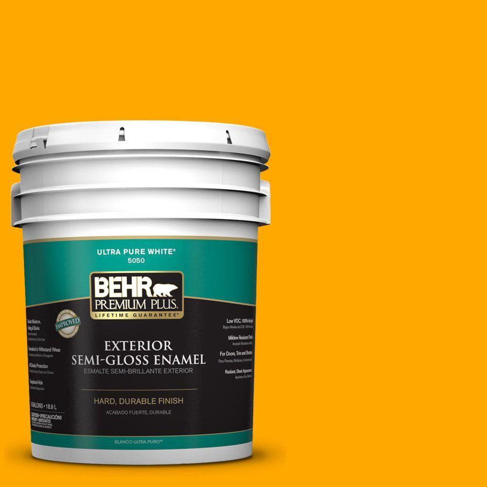 BEHR Premium Plus 5-gal. #S-G-330 Instant Delight Semi-Gloss Enamel Exterior Paint