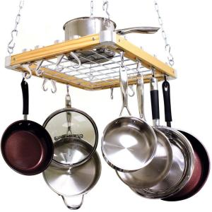 Cooks Standard Ceiling Mounted Wooden Pot Rack by Cooks Standard