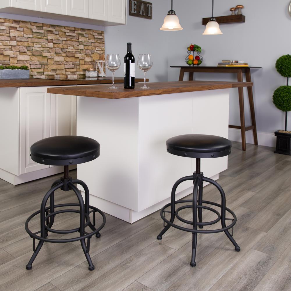 Adjustable Height Black Swivel Cushioned Bar Stool