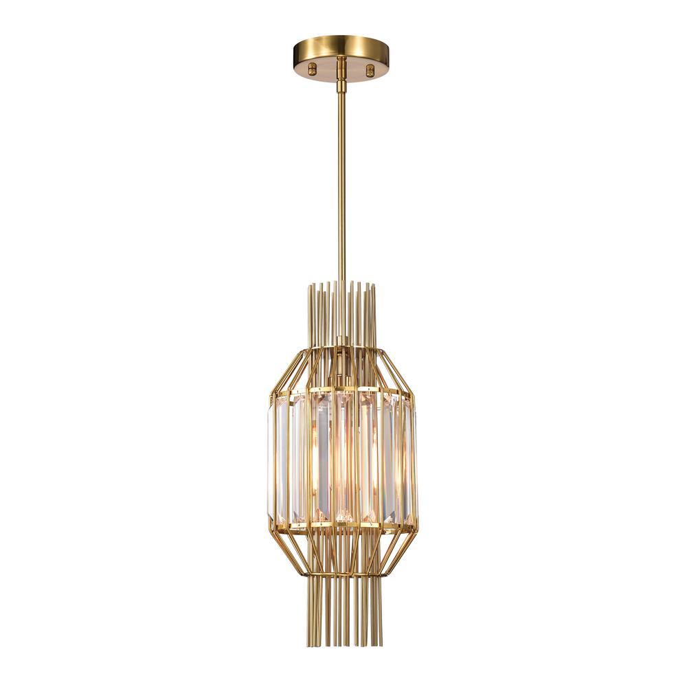 Aes 8 in. 1-Light Indoor Brass Finish Pendant Chandelier