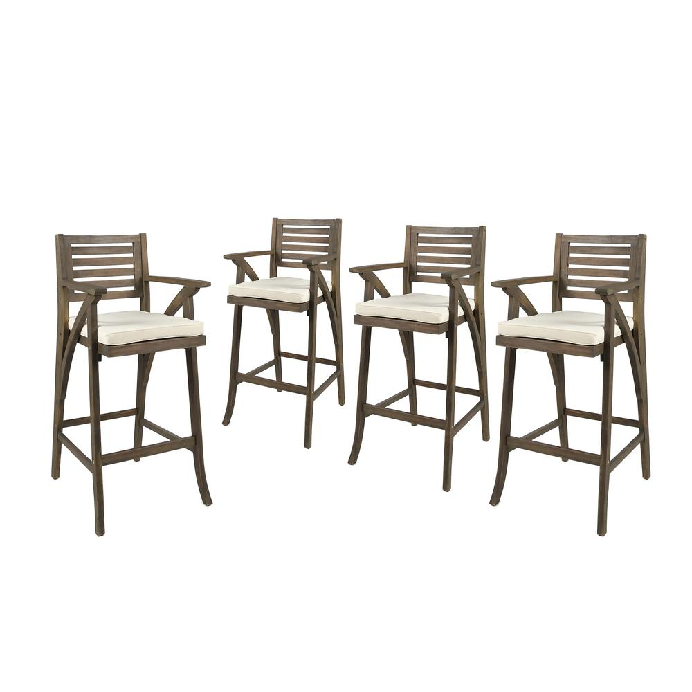 Remarkable Noble House Hermosa Wood Outdoor Bar Stool With Cream Cushion 4 Pack Squirreltailoven Fun Painted Chair Ideas Images Squirreltailovenorg