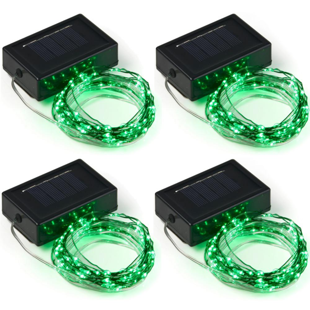 20 Ft 100 Micro Led Solar Powered Copper Wire Green Integrated Led String Light 4 Pack