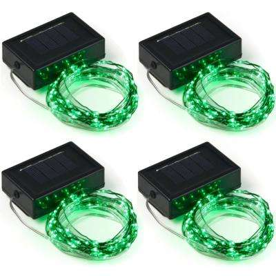 20 ft. 100-Micro LED Solar Powered Copper Wire Green Integrated LED String Light (4-Pack)