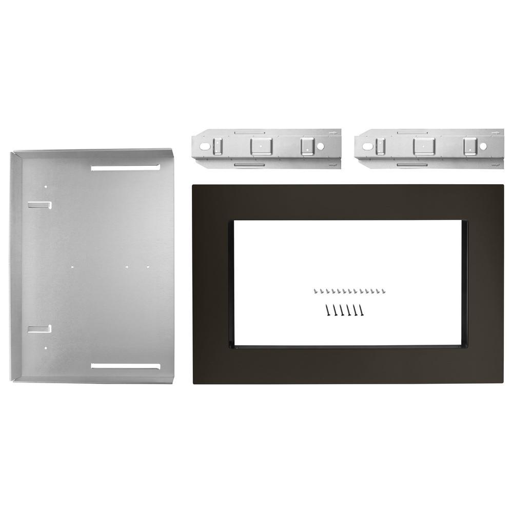 27 in. Microwave Trim Kit in Black Stainless