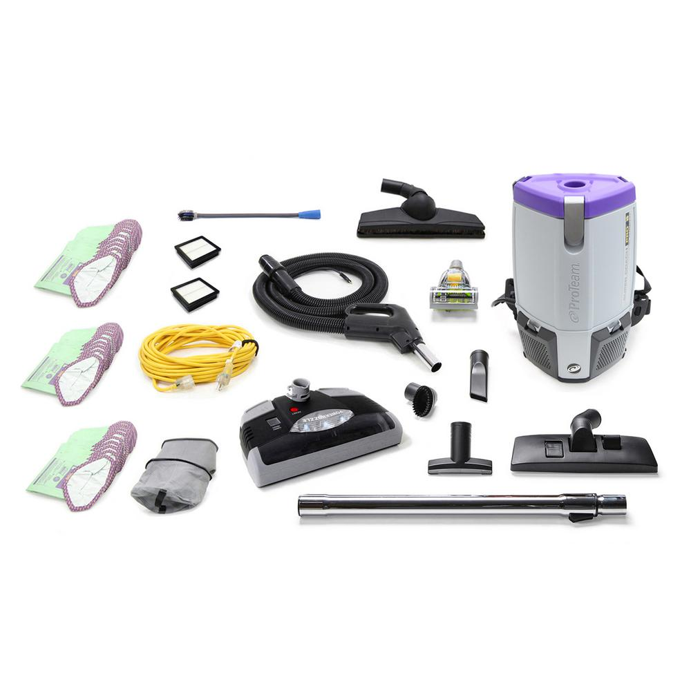 ProTeam Loaded Super Coach Pro 6 Qt. Commercial Backpack Vacuum Cleaner with Power nozzle