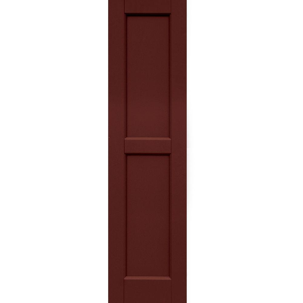 Winworks Wood Composite 12 in. x 47 in. Contemporary Flat Panel Shutters Pair #650 Board & Batten Red
