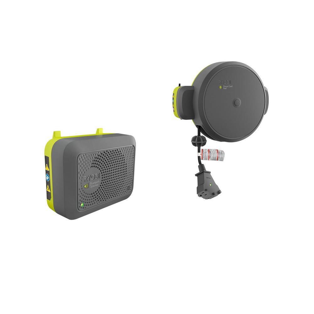 Garage Retractable Cord Reel and Bluetooth Wireless Speaker Accessories