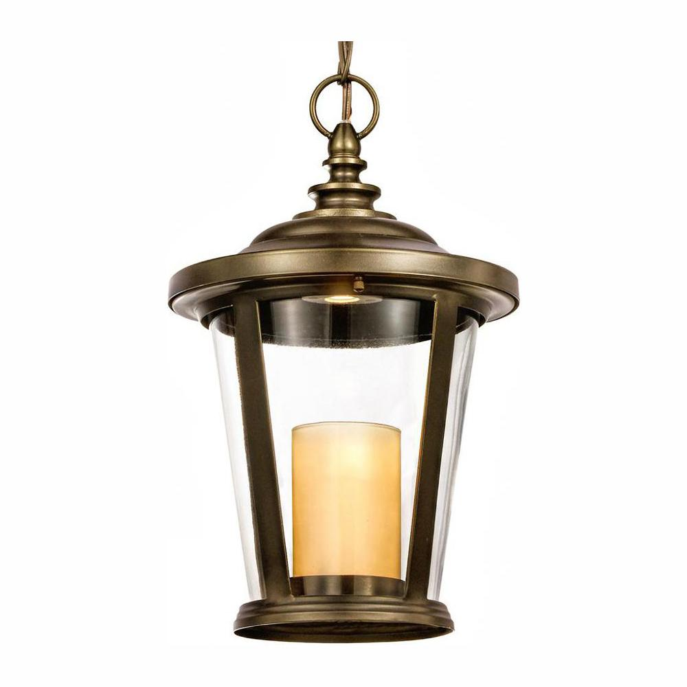 Home Decorators Collection Bellingham Oil-Rubbed Bronze Outdoor LED Medium Pendant with Clear Glass and Amber Glass Candle