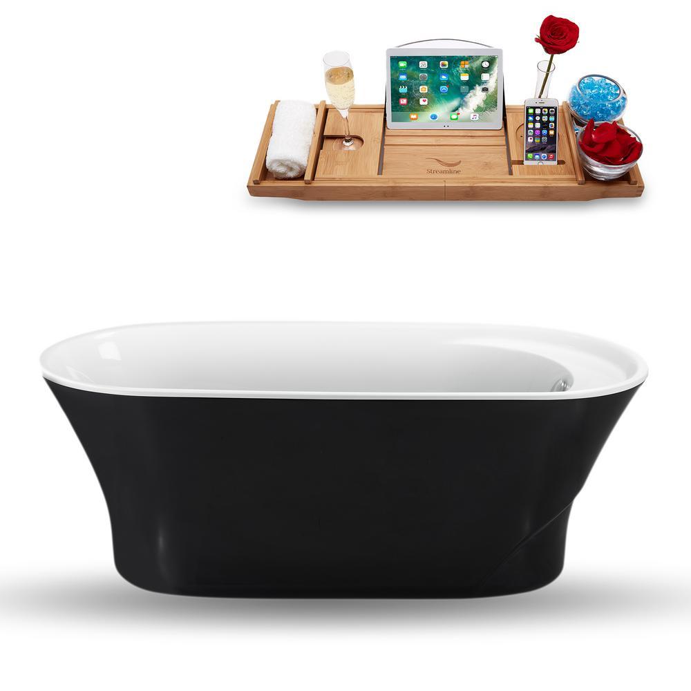 59.1 in. Acrylic, Fiberglass Flatbottom Non-Whirlpool Bathtub in Glossy Black