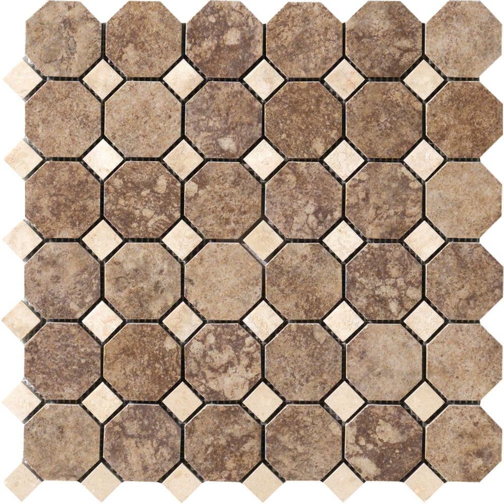 Octagon tile backsplash