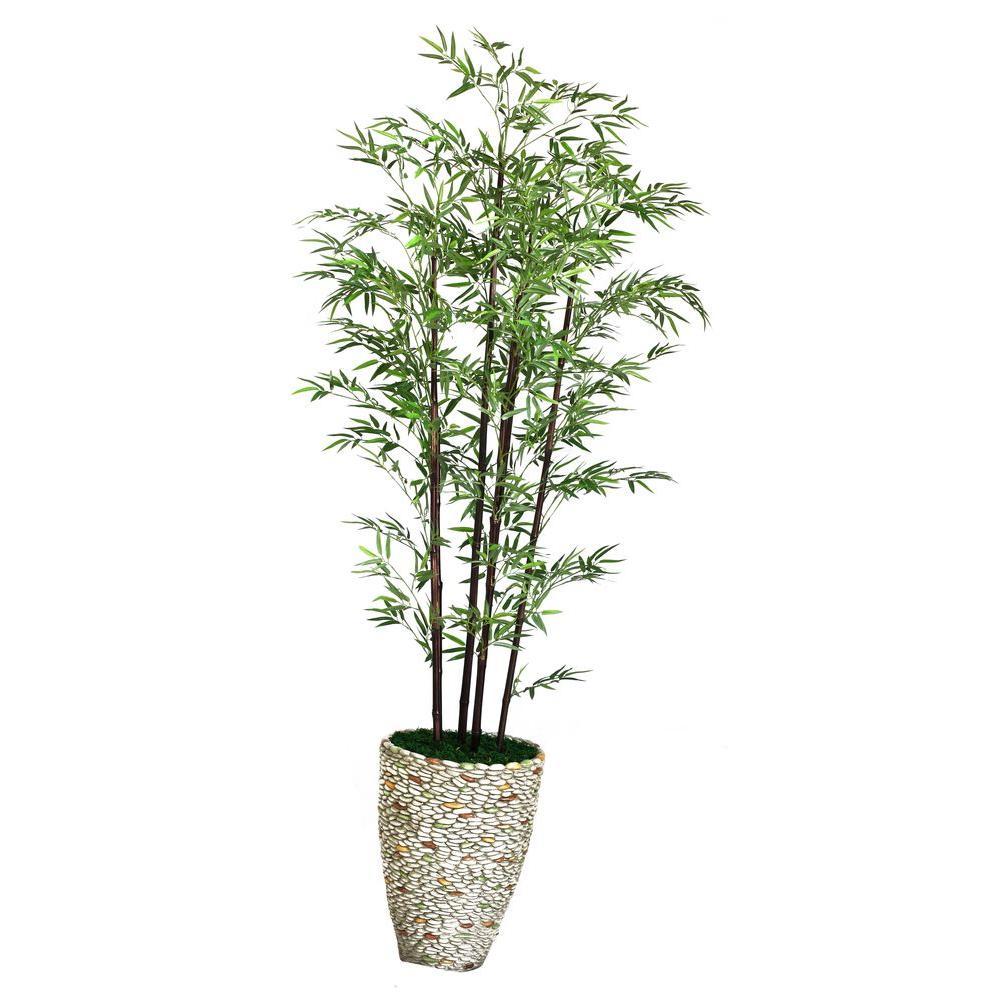 Laura Ashley 86 in. Tall Black Bamboo Tree in 16 in. Fiberstone ...