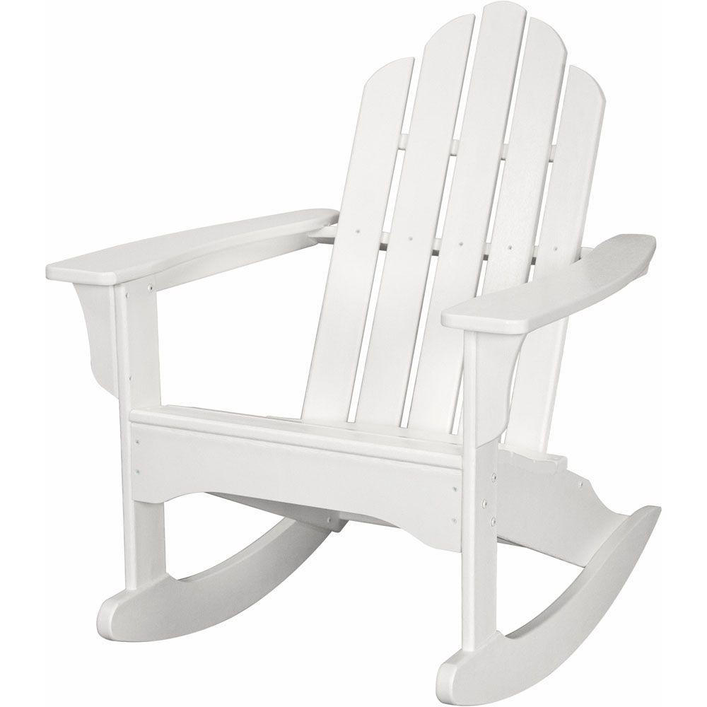 Hanover White All Weather Adirondack Rocking Patio Chair