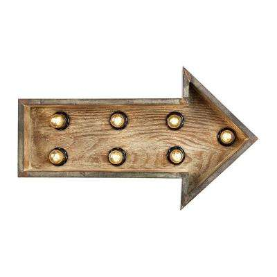7 in. Wood Arrow Marquee Wall Lamp