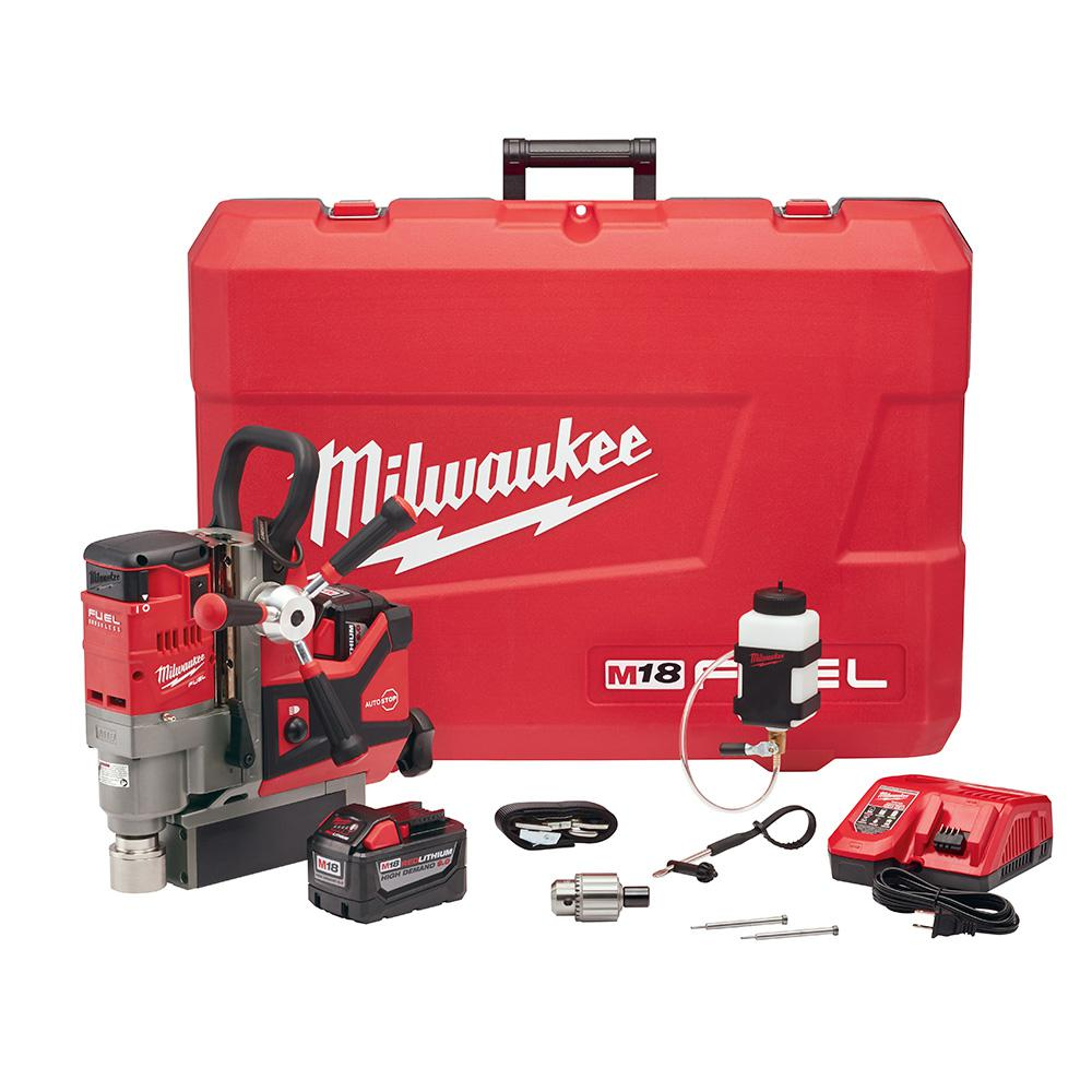 Milwaukee M18 FUEL 18-Volt Lithium-Ion Brushless Cordless 1-1/2 in. Lineman Magnetic Drill High Demand Kit W/(2) 9.0Ah Batteries