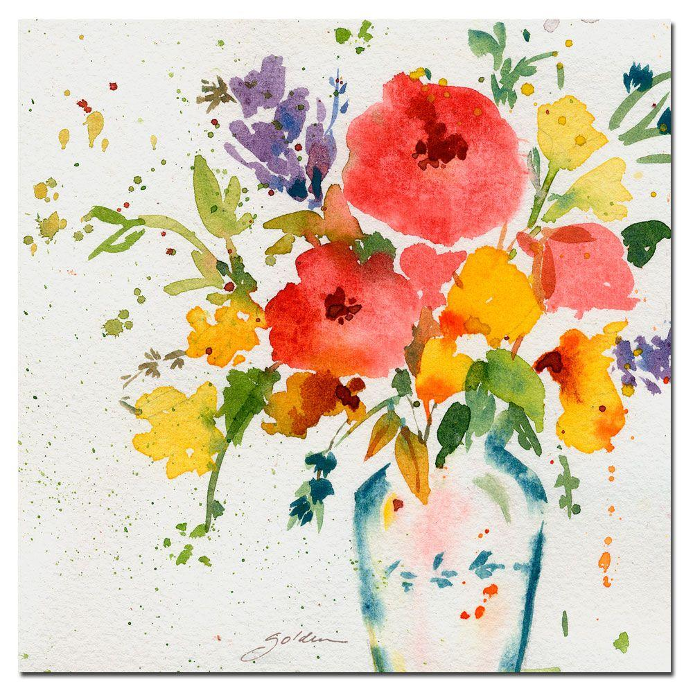 Trademark Fine Art 35 in. x 35 in. White Vase with Bright Flowers Canvas Art