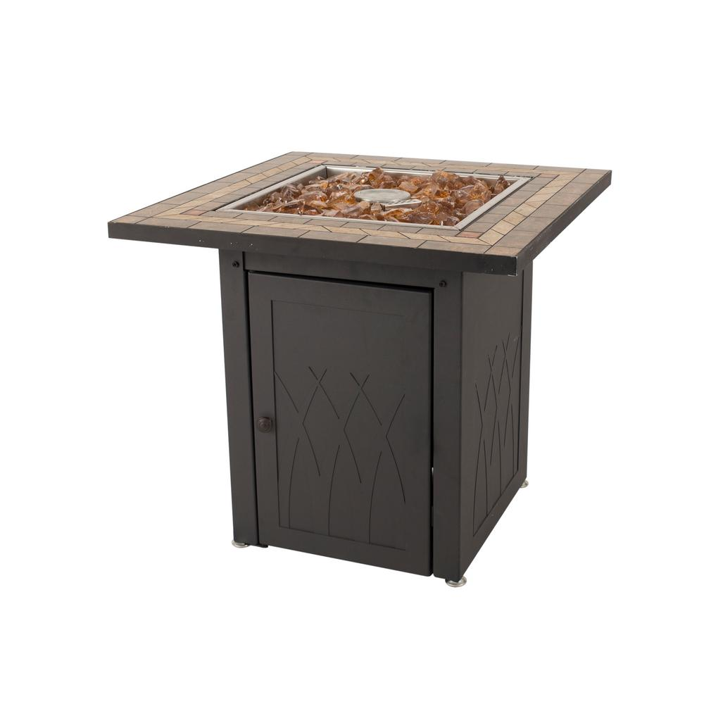 Pleasant Hearth Atlantis 28 in. x 26 in. Square Steel Propane Gas Fire Pit Table in Black with Glass Fire Rocks