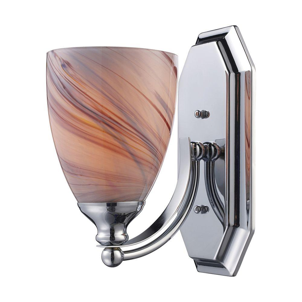 Titan Lighting 1-Light Polished Chrome Wall Mount Vanity Light