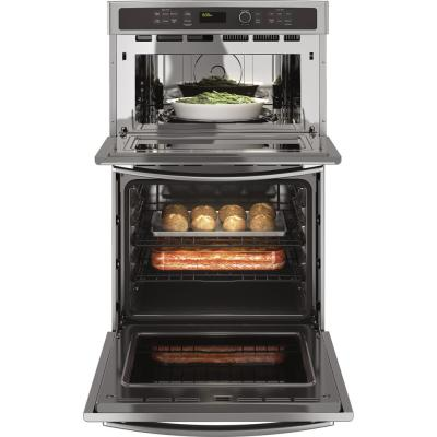 27 in. Double Electric Wall Oven with Built-In Microwave in Stainless Steel
