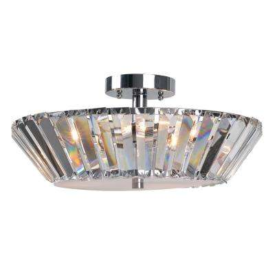 3-Light Chrome and Crystal Semi-Flushmount