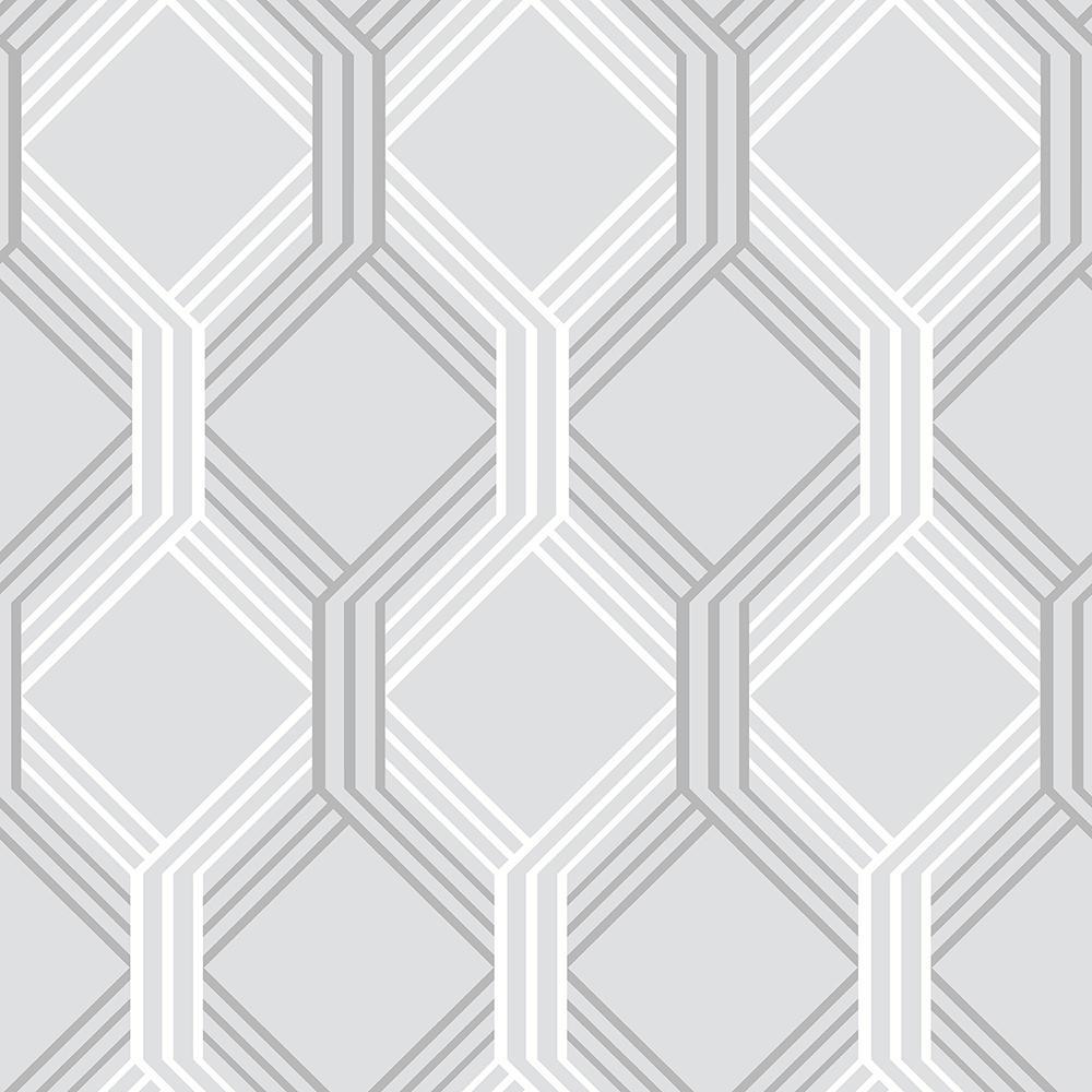 Neutral Trellis Wallpaper: A-Street Linkage Grey Trellis Wallpaper-2697-78054