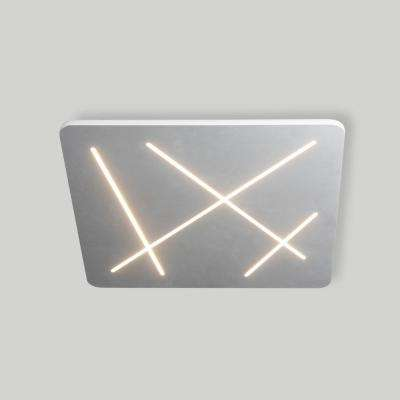 Tureis Collection 18 in. Silver/Nickel LED Modern Square Ceiling Light